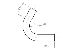 ベンド曲げパイプ Φ45 R80 CAD